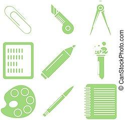 école, linéaire, icons., partie, vert, marchandises, noir, 2.