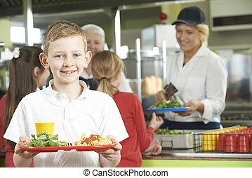 école, mâle, déjeuner sain, pupille, cafétéria
