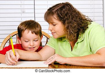 école, mère, écriture, portion, quoique, enfant, maison,...