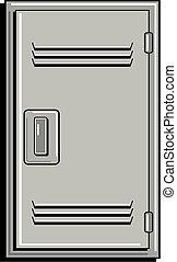 école, métal, casier