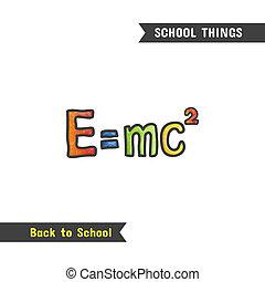 école, main postérieure, fournitures, dessiné, icône