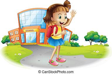 école maison, aller, girl