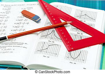 école, manuels, haut, fournitures, fin, mathématiques