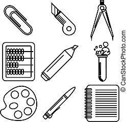 école, marchandises, icons., partie, encre noire, 2.