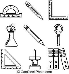 école, marchandises, icons., partie, noir, 3., encre
