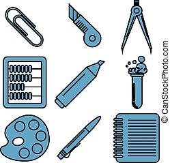 école, marchandises, linéaire, icons., partie, noir, 2.