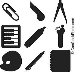 école, marchandises, silhouettes., partie, noir, 2.