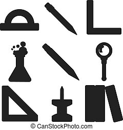 école, marchandises, silhouettes., partie, noir, 3.
