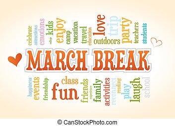école, mars, printemps, arbre, coupure, vecteur, mot, étiquette, bulle, nuage