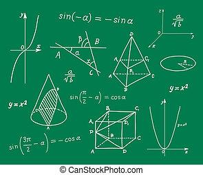 école, mathématiques, croquis, verrat