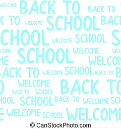 école, mot, modèle, accueil, dos, seamless, vector., nuage