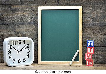 école, mot, planche, temps