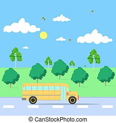 école, nature, autobus, route, illustration, fond