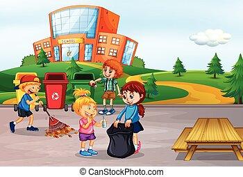 école, nettoyage, étudiant, secteur