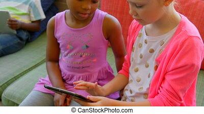 école, numérique, étudier, écolières, tablette, 4k,...