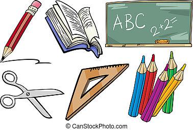 école, objets, ensemble, dessin animé, illustration