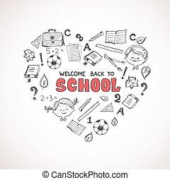 école, objets, heart., forme