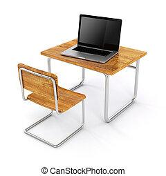école, ordinateur portable, fond, bureau, blanc, 3d