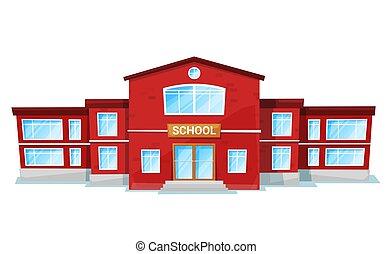 école, ou, vecteur, école, pédagogique, endroit