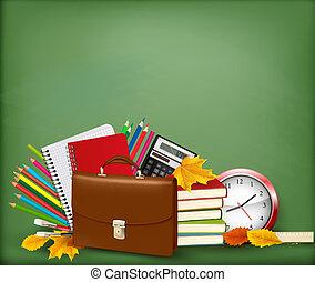 école, ouvert, dos, vecteur, fond, fournitures, fermeture ...