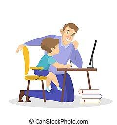 école, père, devoirs, ensemble, fils