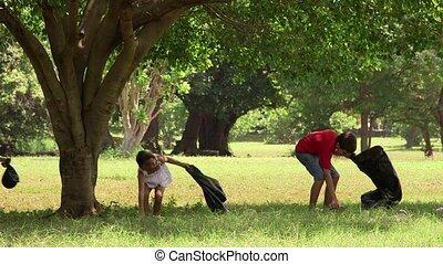 école, parc, enfants, nettoyage