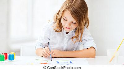 école, peinture, peu,  girl