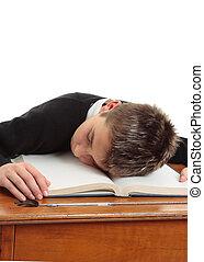 école, percé, ou, étudiant, fatigué