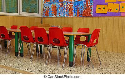 école, peu, chaises, bancs, enfants, jeune