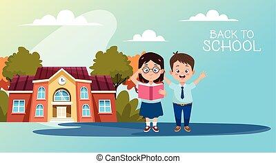 école, peu, uniformes, étudiants, caractères