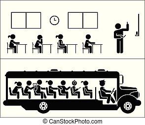 école, pictogramme, set., days., children., bus., aller, enfants, icône