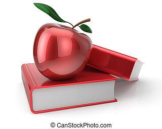 école, pomme, étudier, manuel, livres, education, rouges, icône