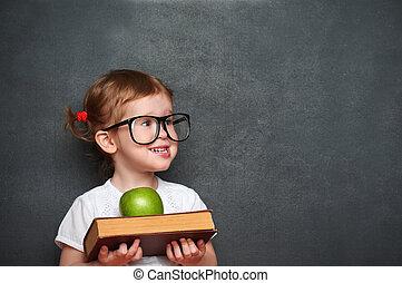 école, pomme, livres, planche, écolière, girl