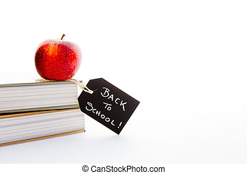 école, pomme, tableau noir, -, dos, étiquette, craie, livres, rouges, manuscrit