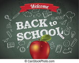 école, pomme, texte, accueil, dos, tableau
