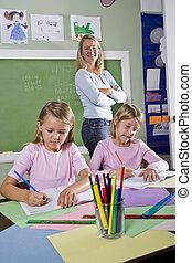 école, portables, filles, prof, écriture