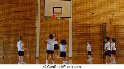 école, pratiquer, schoolkids, 4k, tribunal, basket-ball