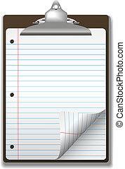 école, presse-papiers, papier cahier, coin, boucle, page,...