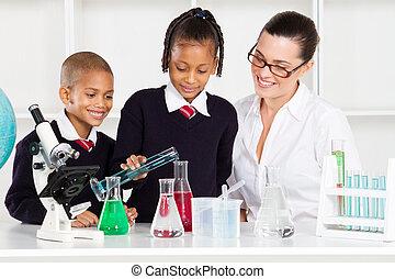 école primaire, étudiants, et, prof