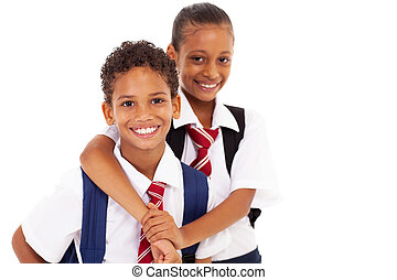 école primaire, amis, deux, heureux