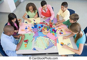 école primaire, art, leçon