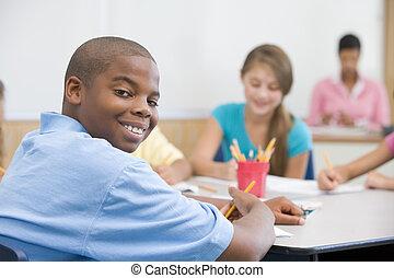 école primaire, classe, pupille