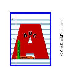 école primaire, devoirs, alphabet