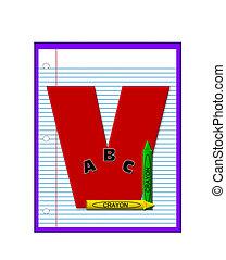 école primaire, devoirs, alphabet, v