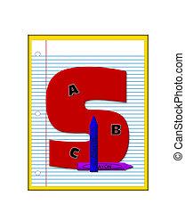 école primaire, devoirs, s, alphabet