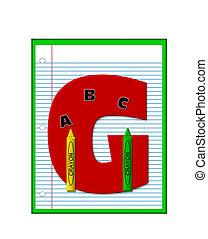école primaire, g, devoirs, alphabet