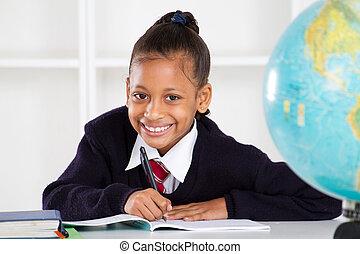 école primaire, girl, heureux