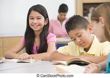 école primaire, groupe, élèves