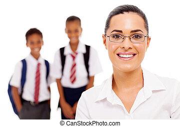 école primaire, joli, enseignante