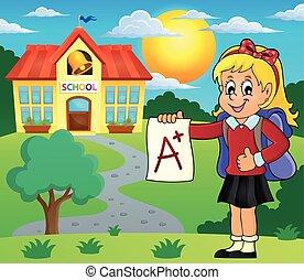 école primaire, plus, girl